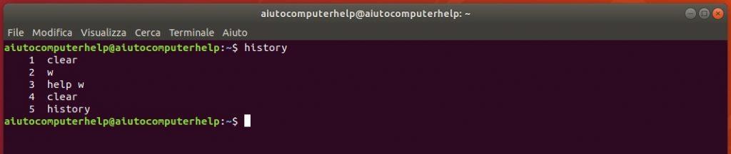 controllo accesso linux - il comando history