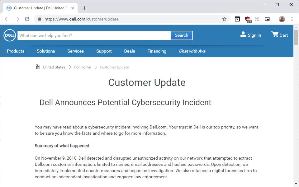 Dell fa resettare tutte le password ai propri clienti