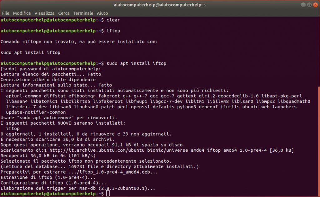 comando iftop linux