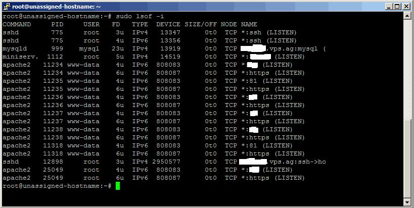 comando linux isof -i