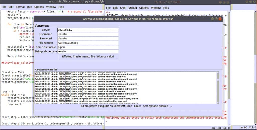 Accedere ad un file remoto attraverso ssh usando Python